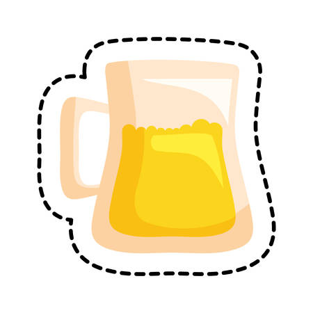 patch of beer jar drink isolated icon vector illustration design