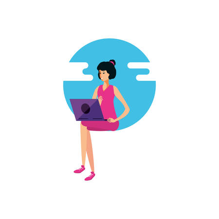 young woman using laptop computer vector illustration design 向量圖像