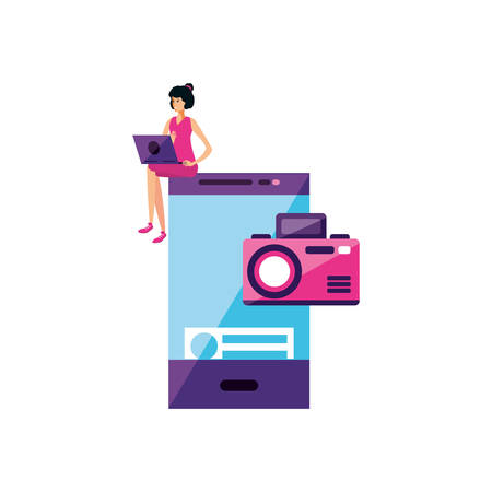 young woman using laptop with smartphone vector illustration design