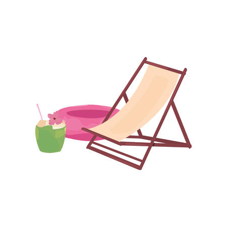 Summer time holiday beach chair float and cocktail Иллюстрация