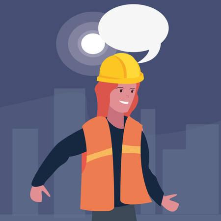 Female builder speech bubble labour day