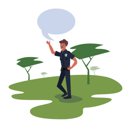 Policeman speech bubble in the park trees nature