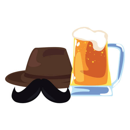 hat beer mustache happy fathers day vector illustration Stock Illustratie