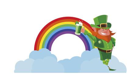 lemprechaun with beer and rainbow vector illustration design Stock Illustratie