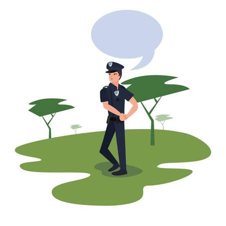 policeman speech bubble in the park trees nature vector illustration Stock Illustratie