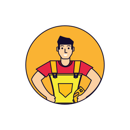 worker construction man in frame circular vector illustration design