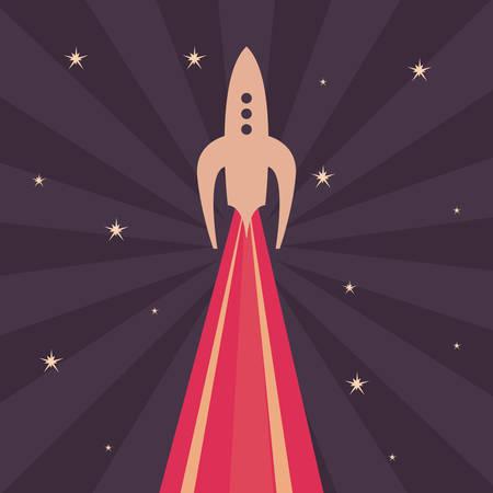 launch rocket explorer space stars vector illustration Illusztráció