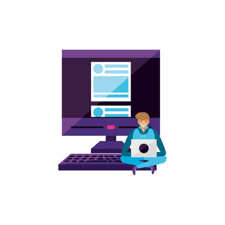 young man using laptop computer with desktop vector illustration design 向量圖像