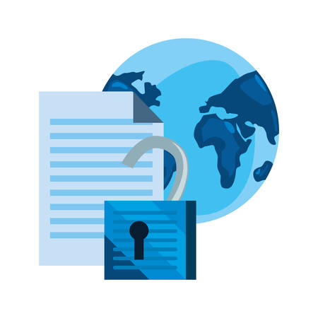 world padlock document cybersecurity data protection vector illustration