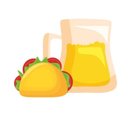 taco food mexican with jar beer isolated icon vector illustration design