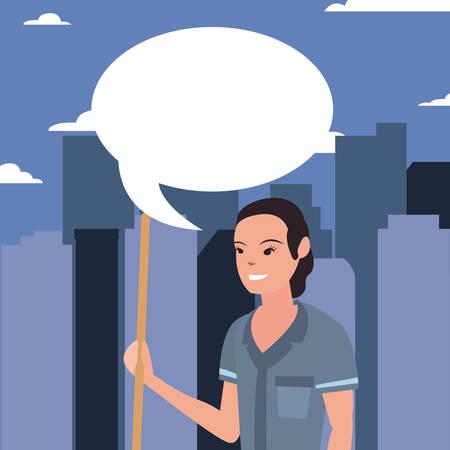 street sweeper woman city profession labour day vector illustration Ilustração