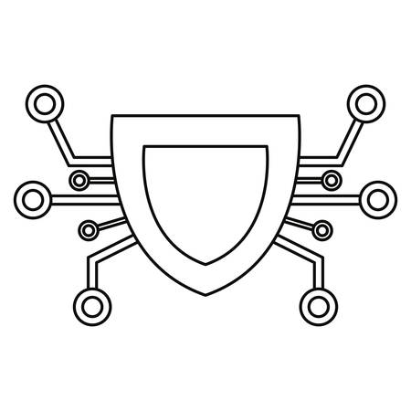 shield connection cybersecurity data protection vector illustration outline