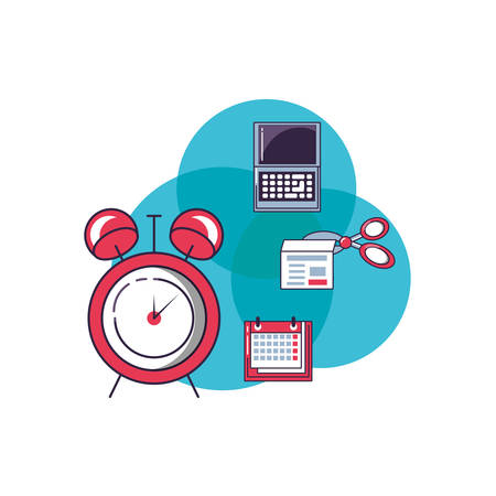 alarm clock with set icons vector illustration design Ilustrace