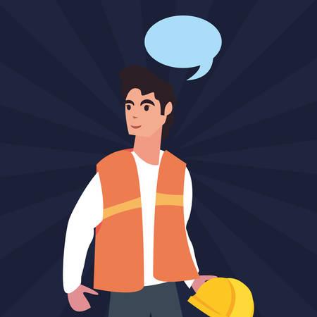 builder speech bubble labour day vector illustration Ilustração