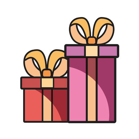 wrapped gift boxes on white background vector illustration Иллюстрация