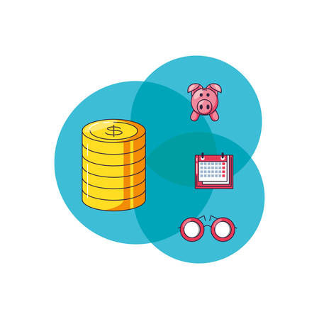 pile coins dollar with set icons vector illustration design