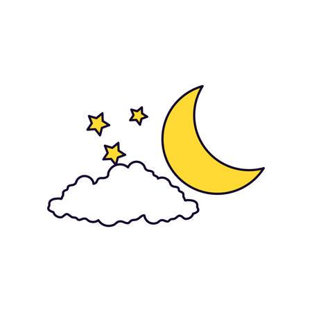 ramadan kareem card with moon at night vector illustration design