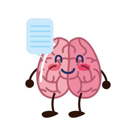 brain cartoon speech bubble creativity vector illustration