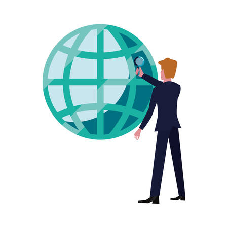 businessman with magnifier world business vector illustration