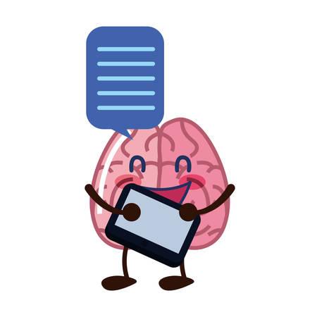 brain cartoon tablet mobile speech bubble creativity vector illustration Ilustração