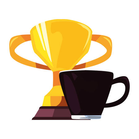 coffee cup trophy happy fathers day vector illustration
