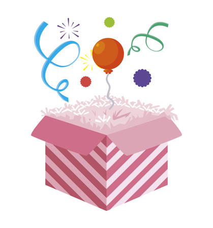 cake packing box with confetti and balloon helium vector illustration design Illustration