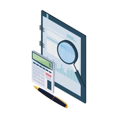 Bloc-notes de bureau avec des éléments de conception d'illustration vectorielle