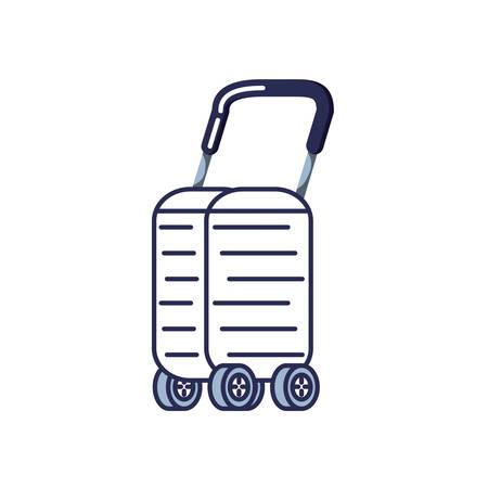 valigia con ruote icona illustrazione vettoriale design Vettoriali