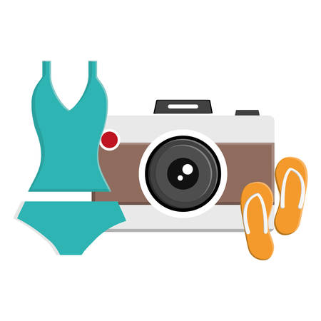 female swimsuit with flip flops and camera photographic vector illustration design