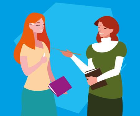 teachers girls avatar character vector illustration design