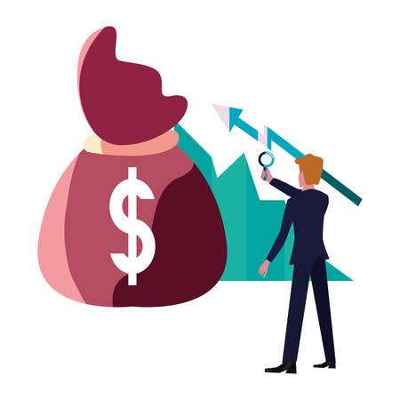 businessman money bag growth diagram bank vector illustration vector illustration