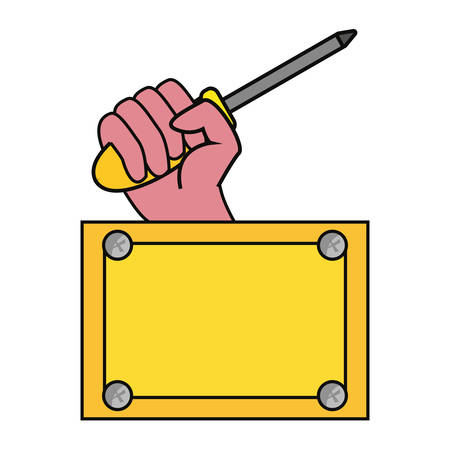 hand screwdriver construction board tool vector illustration design