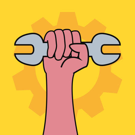 hand holding spanner labour day vector illustration