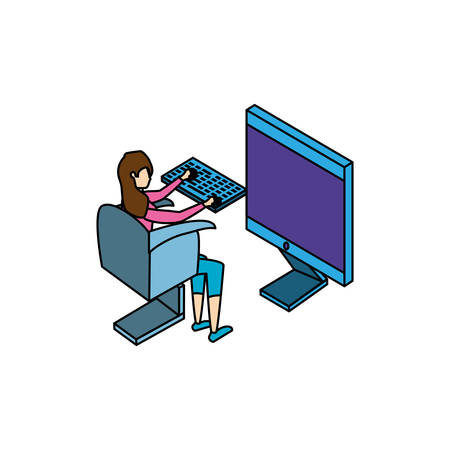 businesswoman worker with computer vector illustration design Ilustracja