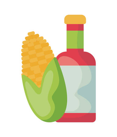 bottle tequila with cob corn isolated icon vector illustration design