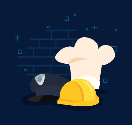 hats chef police and construction labour day vector illustration