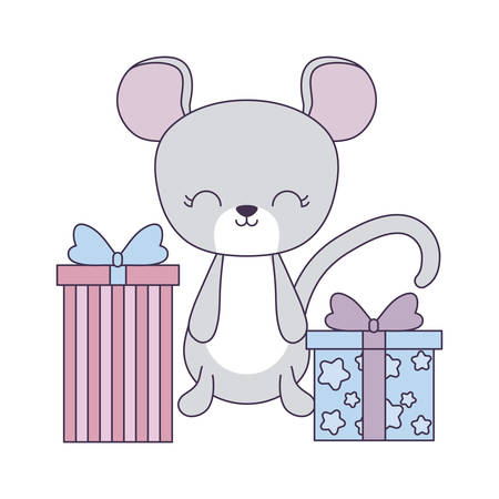 cute mouse with gift boxes vector illustration design