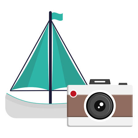 camera photographic with sailboat vector illustration design