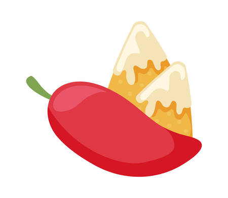 mexican delicious nachos with cheese sauce and chili pepper vector illustration design
