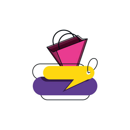 tag commercial with bag shopping isolated icon vector illustration design