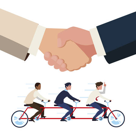 teamwork in tamden bicycle and handshake vector illustration design