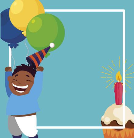 cute black boy with birthday balloons helium and cupcake vector illustration design Çizim