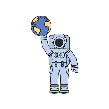 astronaut suit hoisting planet earth vector illustration design