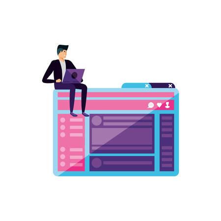 young man using laptop in webpage template vector illustration design