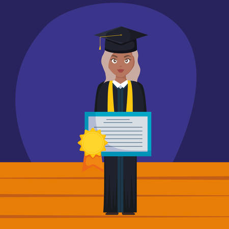 young student graduated girl black with diploma vector illustration design  イラスト・ベクター素材