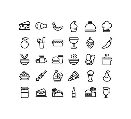 icon set pack design, food drinks eat restaurant menu dinner lunch cooking and meal theme Vector illustration Illustration