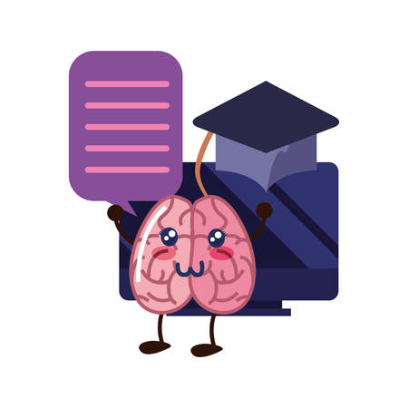 brain cartoon education computer graduation hat vector illustration