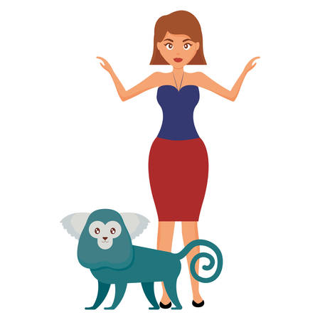 beautiful woman with exotic monkey character vector illustration design