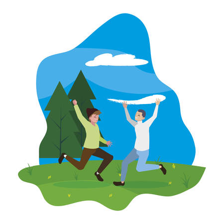 happy young men celebrating in the camp vector illustration design