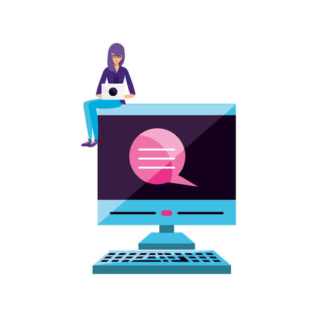 young woman using laptop computer with desktop vector illustration design